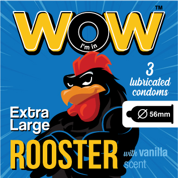 Wow condoms practice safe sex Rooster extra large condom